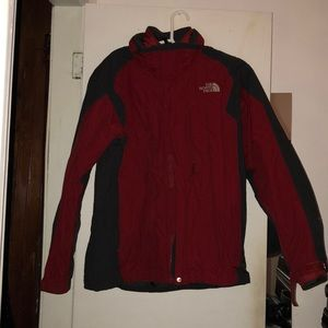 Red north face men's jacket